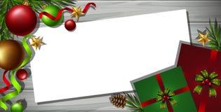 Plantilla de la frontera con los ornamentos de la Navidad en fondo ilustración del vector