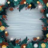 Plantilla de la frontera con los pinecones de la Navidad Fotos de archivo