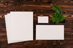 Plantilla de la identidad corporativa, efectos de escritorio con follaje verde en el tablero de madera del marrón del vintage Mof Fotos de archivo libres de regalías