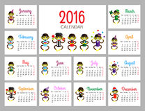 Plantilla Divertida Editable De 2016 Calendarios Foto de archivo ...