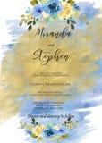 Plantilla de la invitación de la acuarela del azul y del oro para las bodas Foto de archivo