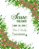 Plantilla de la invitación de la boda del illustreation del vector adornada con el marco color de rosa de la guirnalda libre illustration