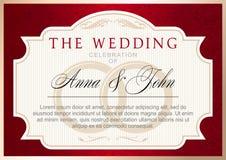 Plantilla de la invitación de la boda del vintage, rojo de rubíes con oro ilustración del vector