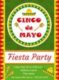 Plantilla de la invitación de Cinco de Mayo, aviador Postal mexicana del día de fiesta Ilustración del vector ilustración del vector