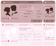 Plantilla de la invitación de la boda del boleto del documento de embarque Fotos de archivo