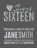 Plantilla de la invitación del partido del dulce 16 Fotos de archivo libres de regalías
