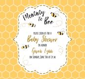 Plantilla de la invitación de la fiesta de bienvenida al bebé con la mamá del texto a la abeja, miel Diseño de tarjeta lindo para Fotos de archivo