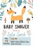 Plantilla de la invitación de la fiesta de bienvenida al bebé con un zorro lindo stock de ilustración