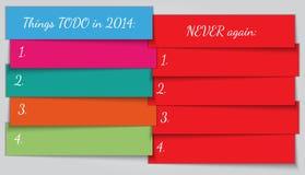 Plantilla de la lista de la resolución del Año Nuevo del vector Imagen de archivo