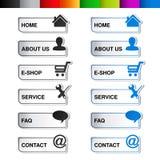 Plantilla de la navegación del web - 6 elementos del menú, pasos, opciones Imagen de archivo