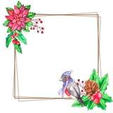 Plantilla de la Navidad de la acuarela con el lugar para su texto stock de ilustración