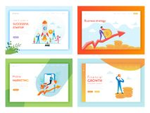 Plantilla de la página del aterrizaje del éxito empresarial de la inversión financiera Concepto de lanzamiento de comercializació stock de ilustración
