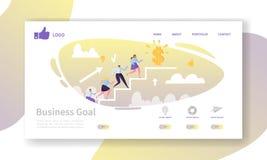 Plantilla de la página del aterrizaje de la carrera del negocio Disposición del sitio web con los caracteres planos de la gente q libre illustration