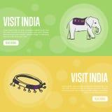 Plantilla de la página del aterrizaje de la compañía del viaje de la India de la visita stock de ilustración