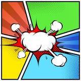 Plantilla de la página del marco del estilo del cómic del extracto de la nube de la explosión Foto de archivo libre de regalías