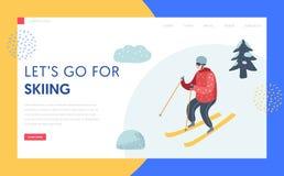 Plantilla de la página de Ski Resort Winter Holidays Landing libre illustration