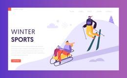 Plantilla de la página de Ski Resort Winter Holidays Landing Caracteres activos de la gente que esquían en las montañas para la p libre illustration