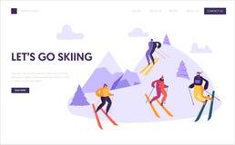Plantilla de la página de Ski Resort Winter Holidays Landing Caracteres activos de la gente que esquían en las montañas para la p ilustración del vector