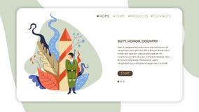 Plantilla de la página web del servicio del ejército del país del honor del deber stock de ilustración