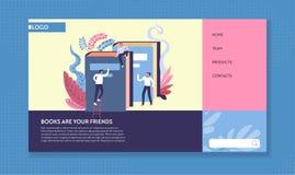 Plantilla de la página web de los libros y de los lectores de la biblioteca que lee en línea stock de ilustración