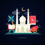 Plantilla de la postal con los iconos islámicos de la cultura libre illustration