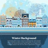 Plantilla de la postal de la invitación del invierno Imágenes de archivo libres de regalías