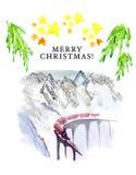 Plantilla de la postal de la Navidad de la memoria stock de ilustración