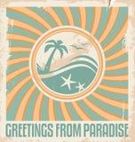 Plantilla de la postal del verano del vintage Fotografía de archivo libre de regalías