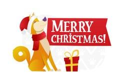 Plantilla de la postal de la Feliz Navidad con el perro amarillo lindo con el regalo rojo en el fondo blanco La historieta del pe Imagen de archivo libre de regalías