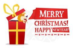 Plantilla de la postal de la Feliz Navidad y de la Feliz Año Nuevo con el perro amarillo lindo dentro del regalo rojo grande en b Fotografía de archivo