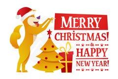 Plantilla de la postal de la Feliz Navidad y de la Feliz Año Nuevo con el perro amarillo lindo con el regalo y el árbol de navida Foto de archivo libre de regalías