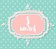 Plantilla de la postal para el día internacional del ` s de la mujer, el 8 de marzo bosquejo dibujado mano en fondo punteado Fotos de archivo
