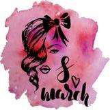 Plantilla de la postal para el día internacional del ` s de la mujer, el 8 de marzo mano Fotos de archivo