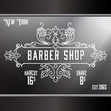 Plantilla de la publicidad de ventana de la peluquería de caballeros del vintage Foto de archivo libre de regalías