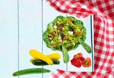 Plantilla de la receta de la comida Primavera vegetal vegetariana fresca sana imágenes de archivo libres de regalías