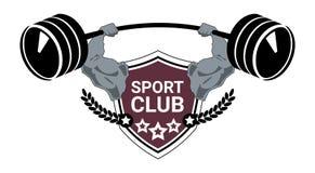 Plantilla de la silueta del emblema del centro de Logo Modern Fitness Or Gym del club de deporte aislada en el fondo blanco stock de ilustración