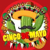 Plantilla de la tarjeta de Cinco de Mayo con el cactus y la guitarra