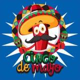 Plantilla de la tarjeta de Cinco de Mayo con el sombrero que lleva del chile