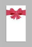 Plantilla de la tarjeta con el arco rojo Vector Imágenes de archivo libres de regalías