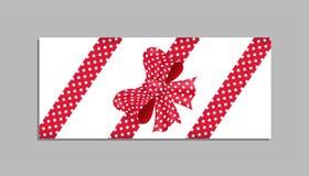 Plantilla de la tarjeta con el arco rojo Vector Fotos de archivo libres de regalías