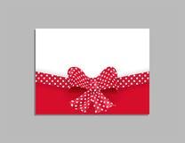 Plantilla de la tarjeta con el arco rojo Vector Foto de archivo libre de regalías
