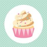 Plantilla de la tarjeta con el cupcacke delicioso Imagenes de archivo