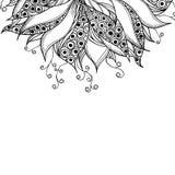 Plantilla de la tarjeta con la flor blanco y negro de la fantasía Stock de ilustración