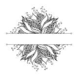 Plantilla de la tarjeta con la flor blanco y negro de la fantasía Ilustración del Vector