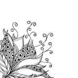 Plantilla de la tarjeta con la flor blanco y negro de la fantasía Foto de archivo libre de regalías