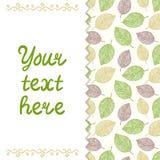 Plantilla de la tarjeta con las hojas Foto de archivo libre de regalías
