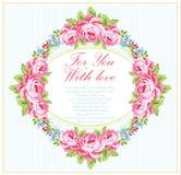 Plantilla de la tarjeta con las rosas del rosa de jardín Fotos de archivo libres de regalías