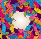 Plantilla de la tarjeta de felicitación con el marco de giros coloridos Foto de archivo