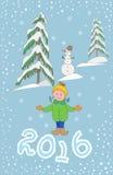 Plantilla de la tarjeta de felicitación de la Navidad, con el niño y el muñeco de nieve Fotos de archivo