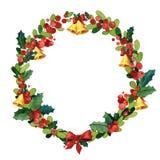 Plantilla de la tarjeta de felicitación de la Navidad de la acuarela Imagenes de archivo